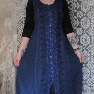 Vintage 90s Navy Blue Hippie Button Up Dress Boho